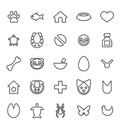 25 outline universal animals pets icons vector image vector image