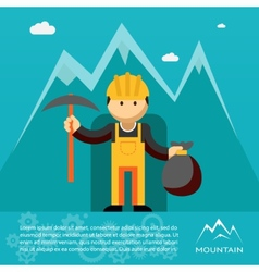 Mountain worker with pick and sack of gold vector
