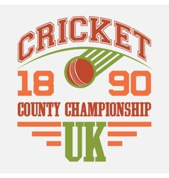 Cricket county championship t-shirt vector