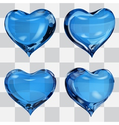 Set of transparent hearts vector image