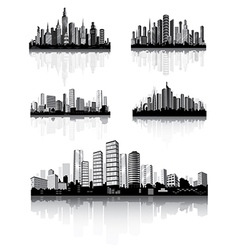 Modern city panorama with skyscraper vector