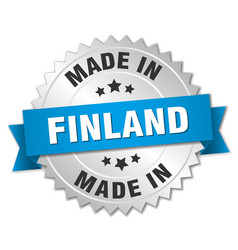 Made in finland silver badge with blue ribbon vector