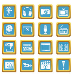 audio and video icons azure vector image