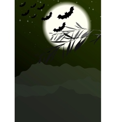 Bats silhouettes on full moon background vector
