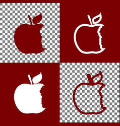 Bite apple sign bordo and white icons and vector