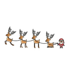 color crayon stripe cartoon of funny reindeers and vector image