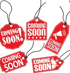 Coming soon red tag set vector