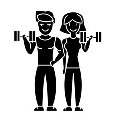 couple in fitness gym icon vector image