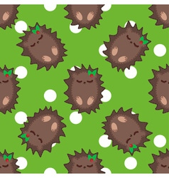 Cute cartoon hedgehog seamless pattern vector image vector image
