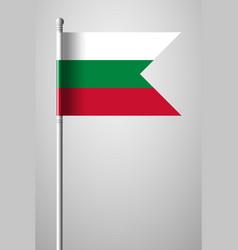 Flag of bulgaria national flag on flagpole vector