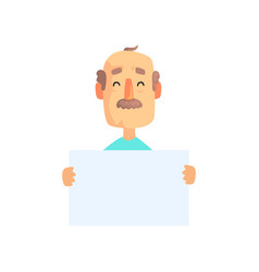 funny grandfather character holding empty white vector image