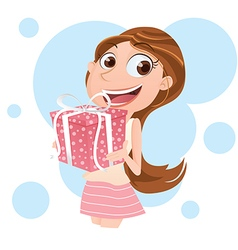 girl with present vector image vector image