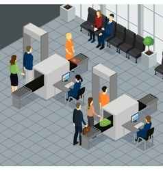 Isometric people in airport concept vector