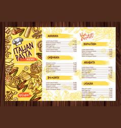 italian pasta restaurant menu template vector image vector image