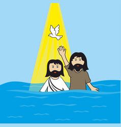 John the baptist baptizing jesus christ vector