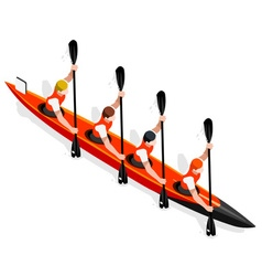 Kayak sprint four 2016 sports 3d vector