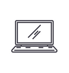 laptopnotebook line icon sign vector image