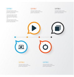Media icons set collection of power infographic vector