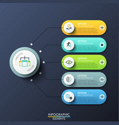 Modern infographic design template with 5 rounded vector