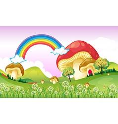 Mushrooms near the rainbow vector