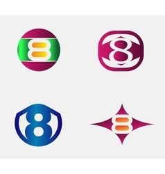 Number eight logo template abstract icon vector