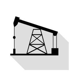 oil drilling rig sign black icon with flat style vector image vector image