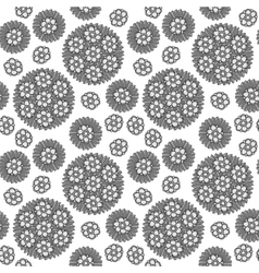 seamless circular floral pattern grayscale vector image vector image