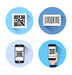 set of icons with bar qr code scanning smart vector image vector image