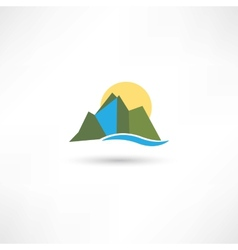 simple mountains symbol vector image vector image