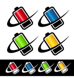 Swoosh Battery Logo Icons vector image