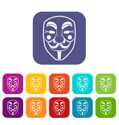 Vendetta mask icons set flat vector