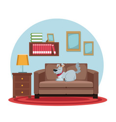 white background with circular colorful scene dog vector image