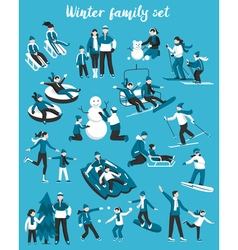 Family winter vacation set vector