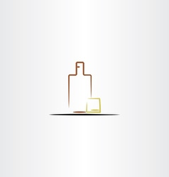 Whisky glass and bottle icon vector
