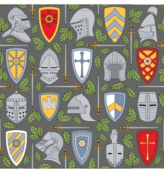 Seamless pattern with knightly helmets and shields vector