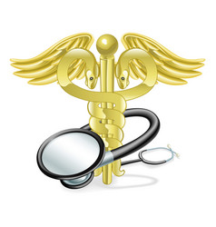 Caduceus stethoscope medical concept vector