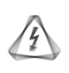 High voltage danger sign  gray icon shaked vector