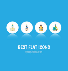Flat icon church set of catholic architecture vector