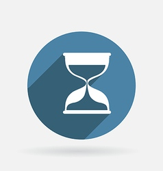 Hourglass waiting circle blue icon with shadow vector