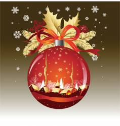 Christmas ball in red colors vector