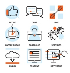 Set of SEO contour icons vector image