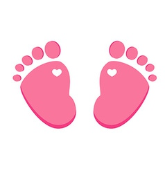 Pink baby footprint vector