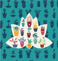 Silhouette of garden flowers and herbs pot plants vector