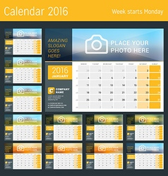 Desk calendar for 2016 year set of 12 months vector