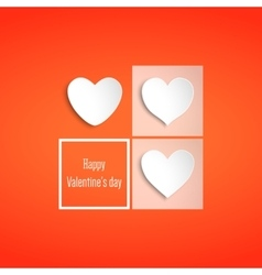 White paper hearts valentines day card on red vector