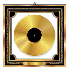 Gold vinyl disc award vector