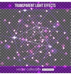 Abstract constellation with lights effect over vector