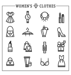 Accessories women icons line vector image vector image