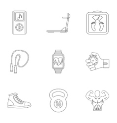 Active lifestyle icons set outline style vector