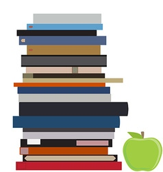 Book stack and apple vector image vector image